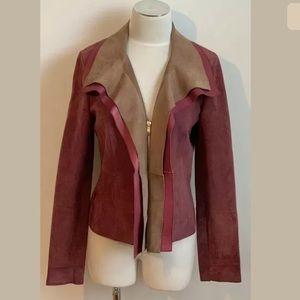 Escada Lamb Leather Asymetrical Jacket Size 36